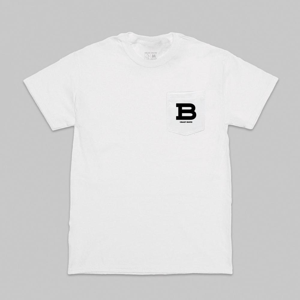 Blast Skates Mascot Logo Pocket S/S T-Shirt - White