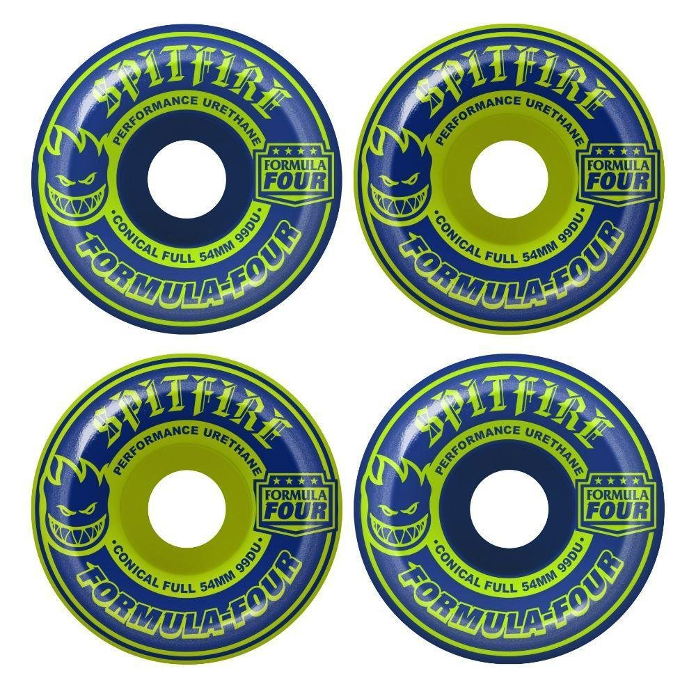 Spitfire Formula Four Conical Full Navy Lime mashup 56mm 99a