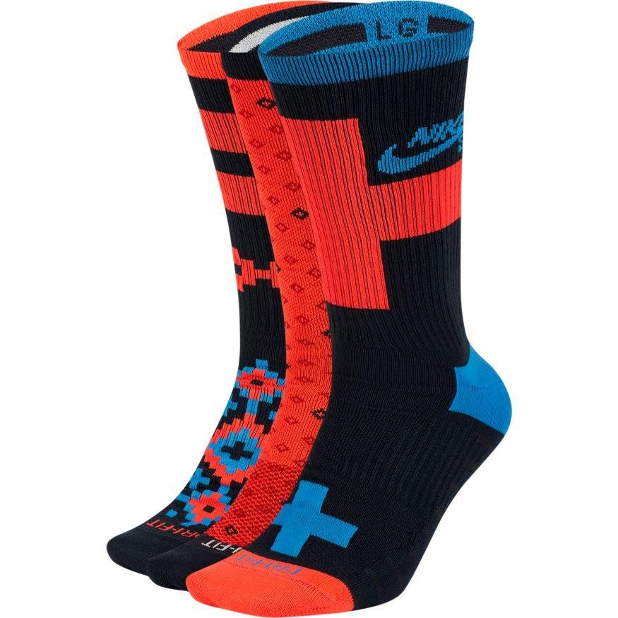 Nike Sb Lightweight crew sock - 3 pack size 8-12 multi infared