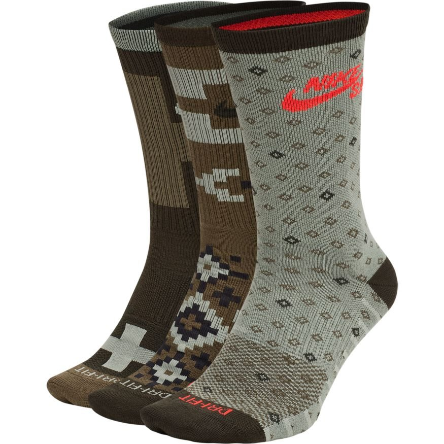 Nike Sb Lightweight crew sock - 3 pack size 8-12 multi ARMY
