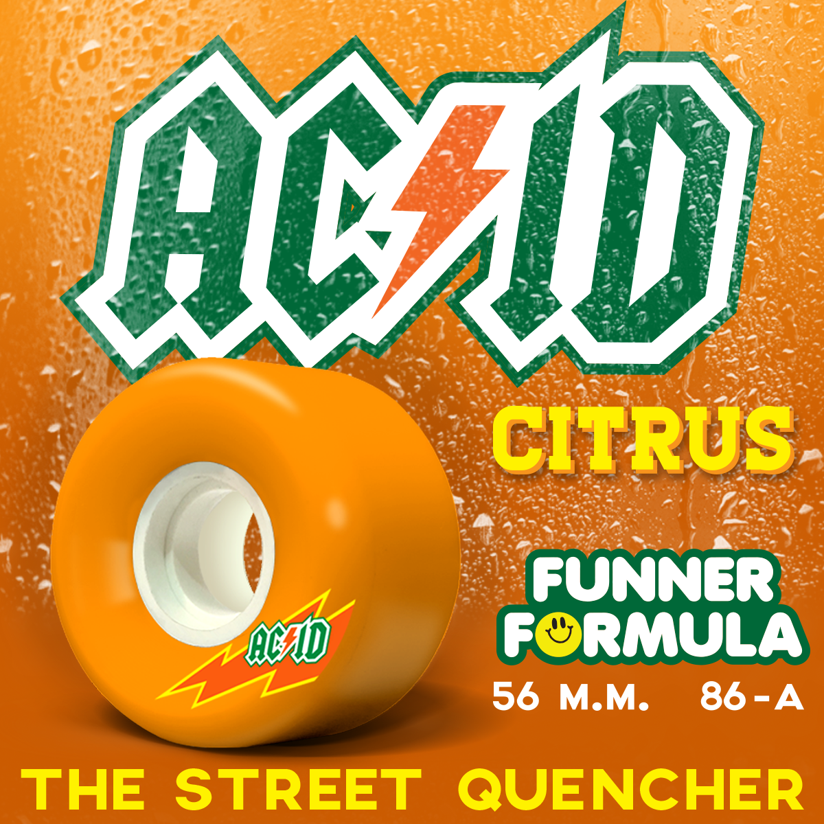 Acid Funner Skaterade 56mm 86a orange
