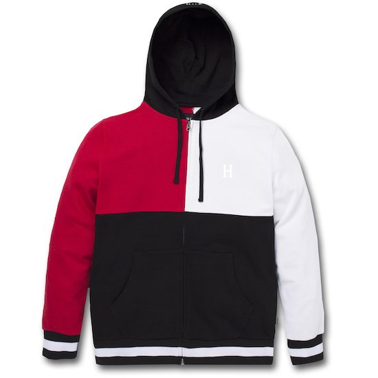 8787ae10fe9 HUF Velli 1 2 zip hooded sweatshirt red white black