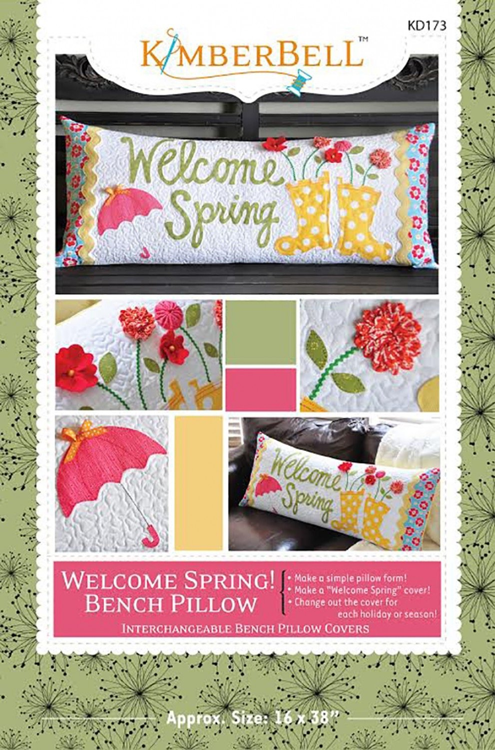Welcome Spring! Bench Pillow by Kimberbell