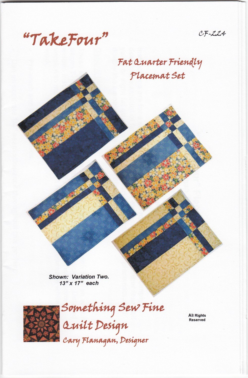 Take Four Placemat Set by Something Sew Fine Quilt Design