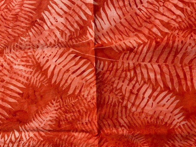 Hoffman Batik 1/2 Yard Cut Orange Fronds