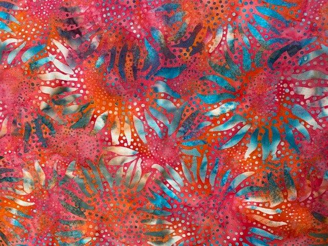 Hoffman Batik 1/2 Yard Cut Pink Sunflowers