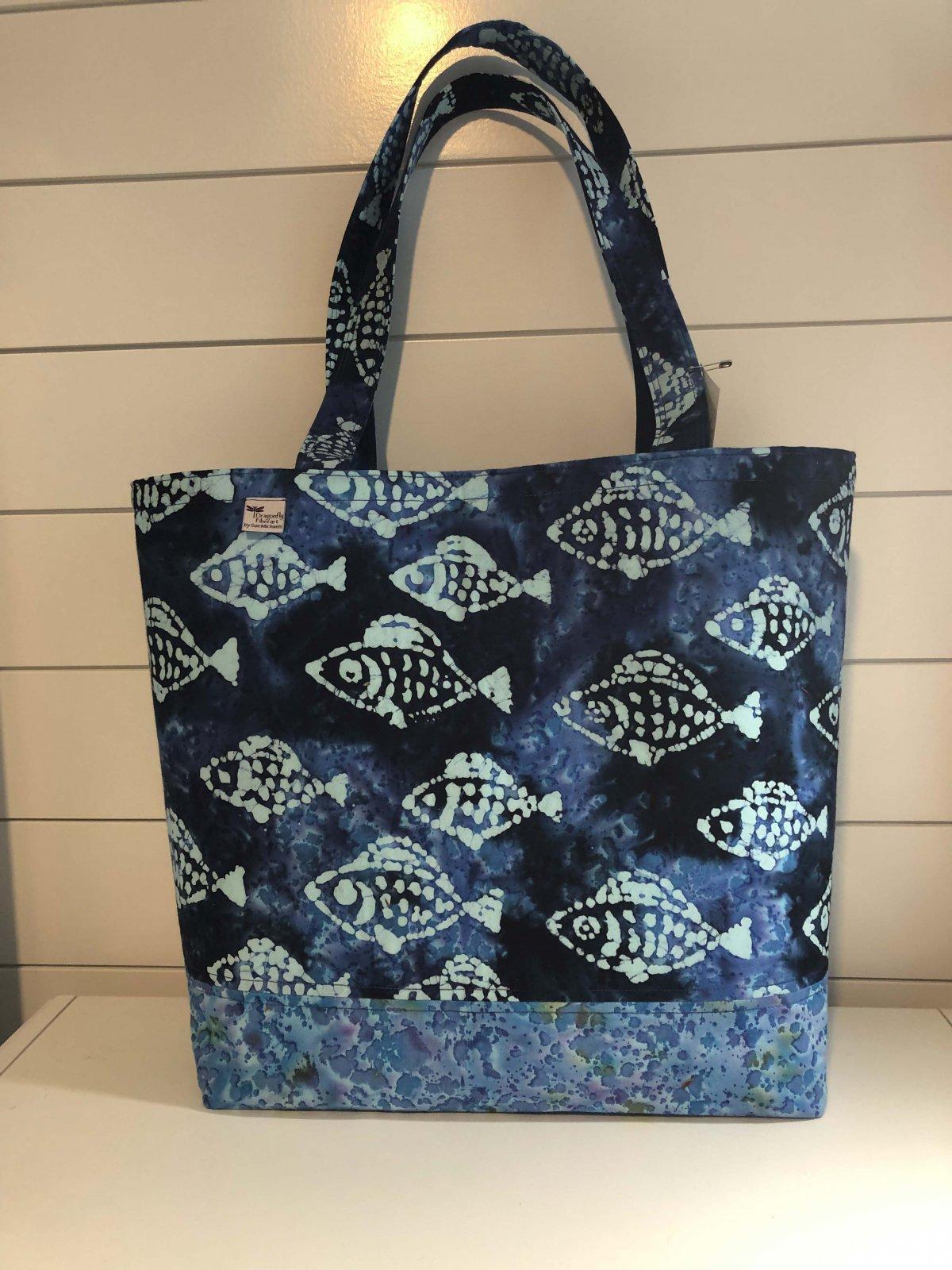 The OOB Bag - Blue Batik Fish