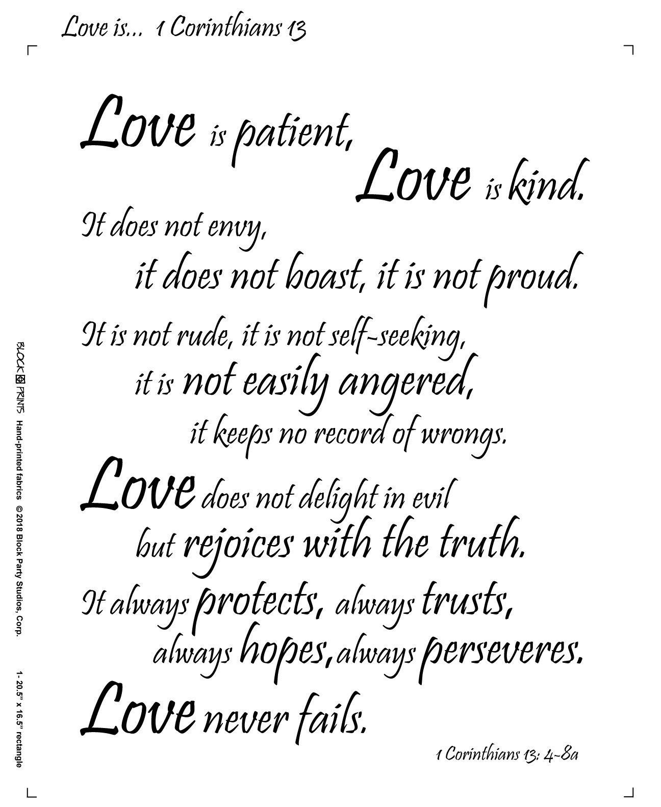Love Is... 1 Corinthians 13 Fabric Panel