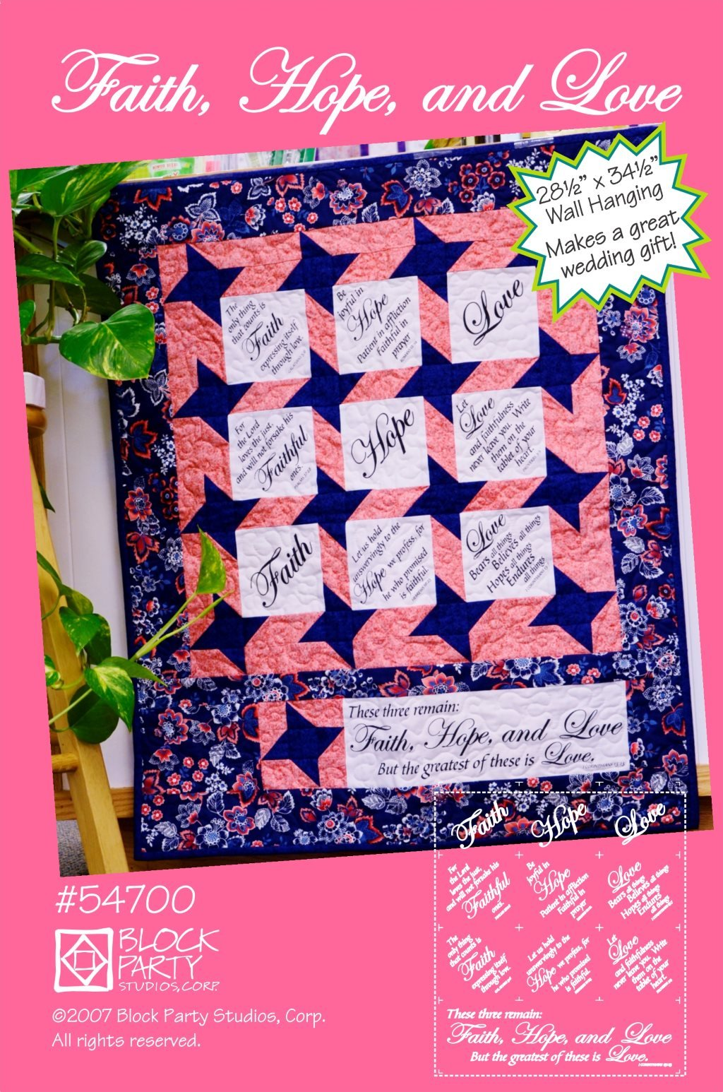 Faith Hope & Love Quilt Pattern and Panel
