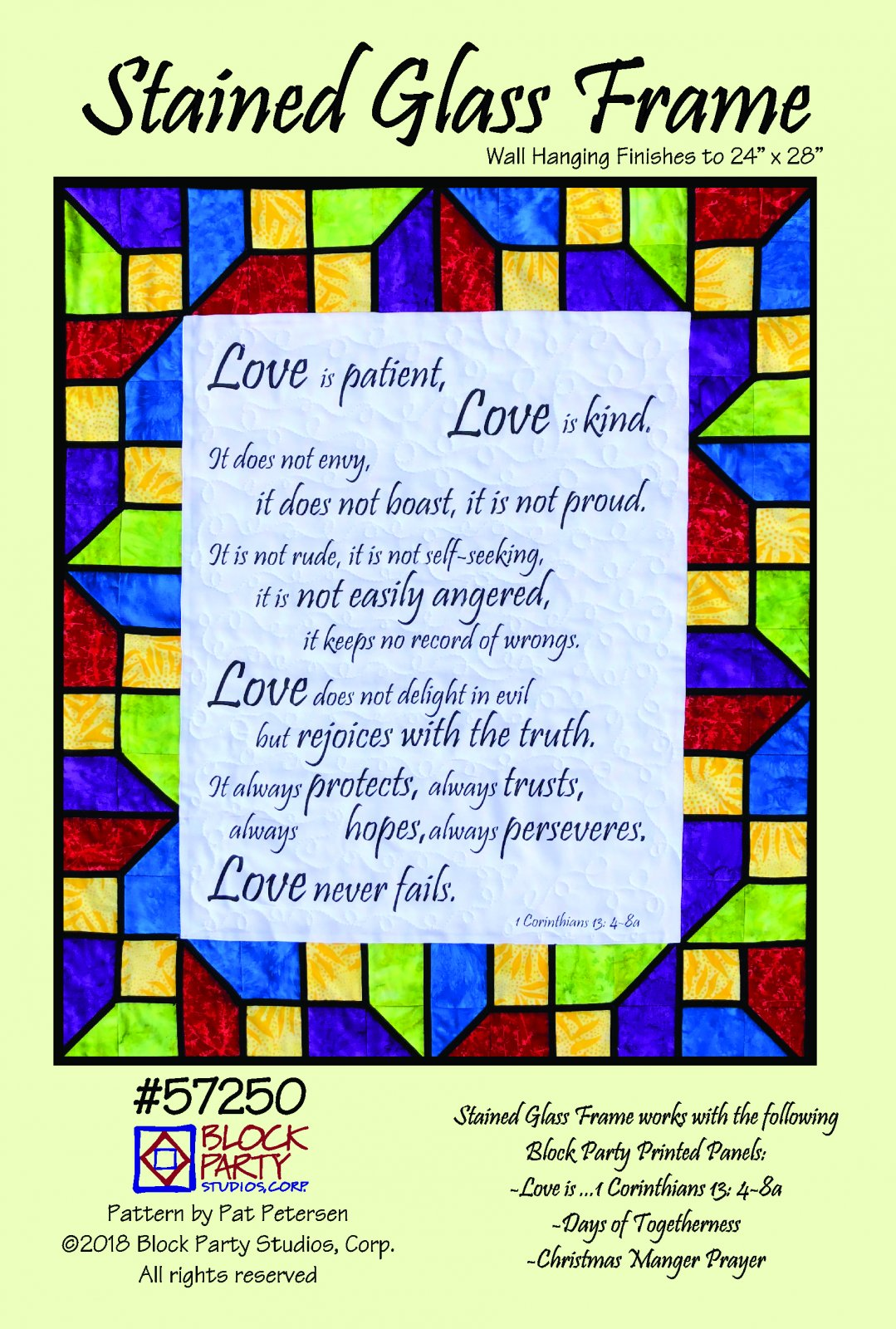 Love Is.... 1 Corinthians 13 Fabric Panel & Stained Glass Pattern