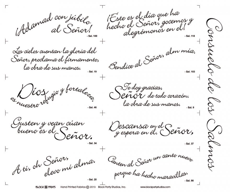 Comfort Of Psalms Quilt Fabric Panel In Spanish 6092