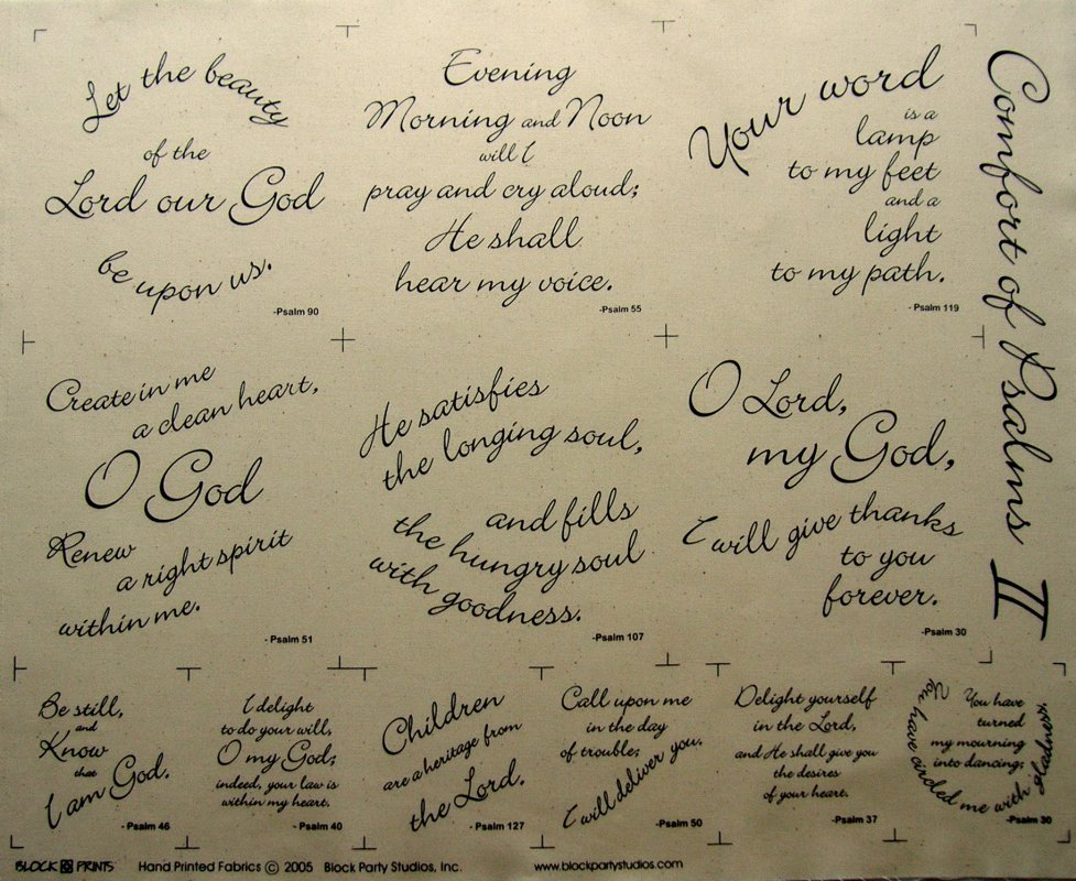 Comfort of Psalms II Quilt Fabric Panel