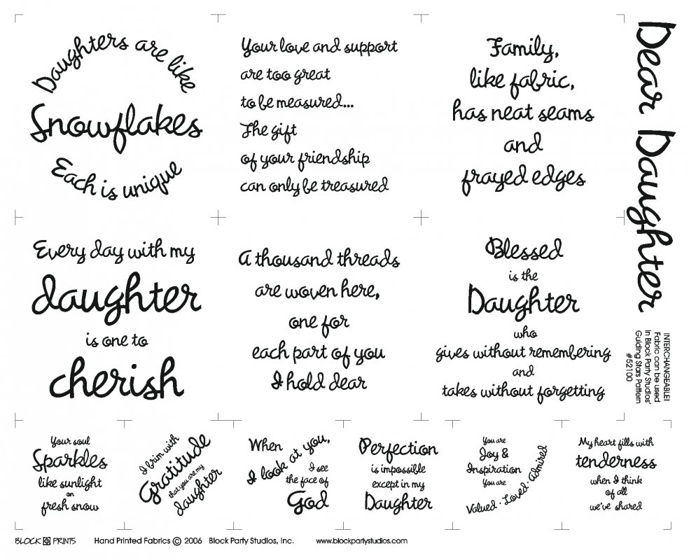 Dear Daughter Quilt Fabric Panel