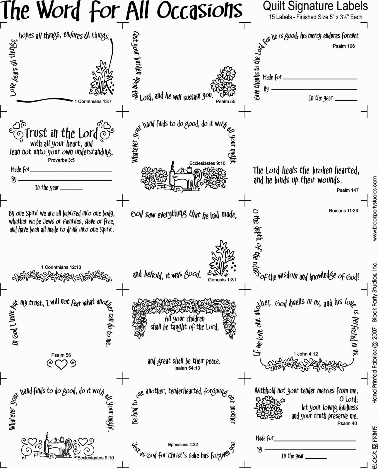 Word for all Occasions Quilt Fabric Panel