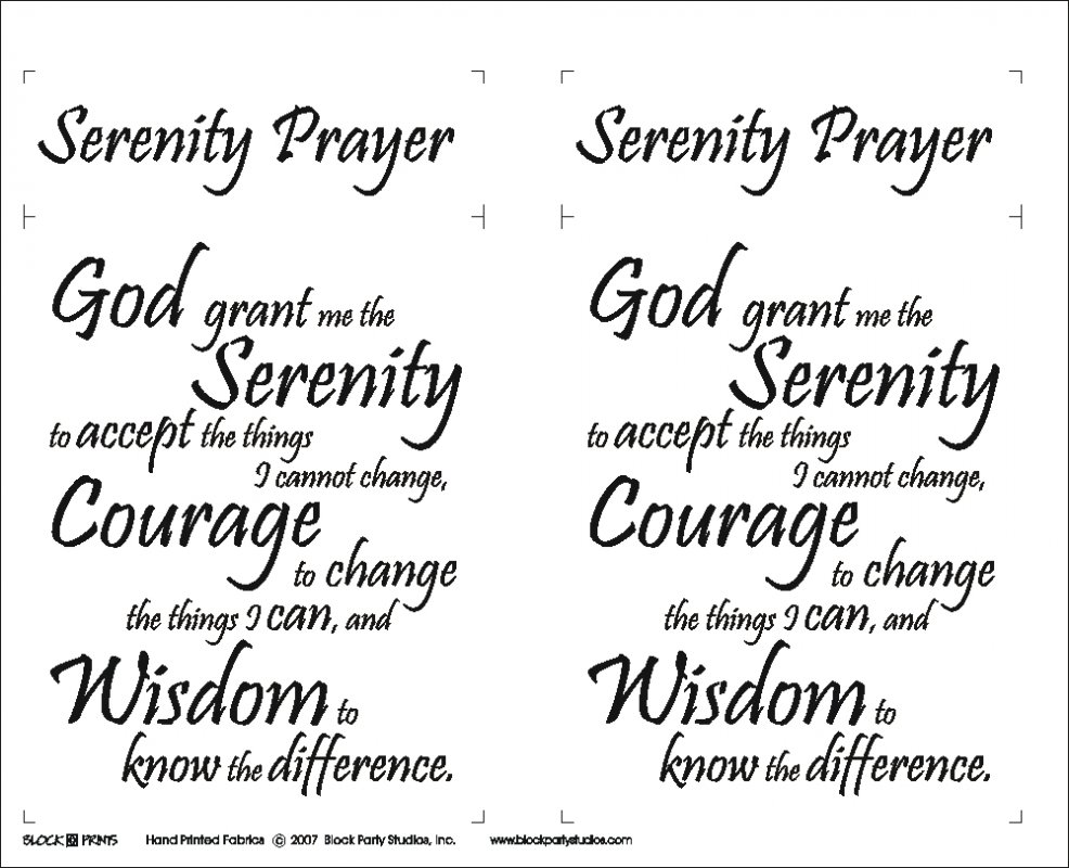 Serenity Prayer Quilt Fabric Panel