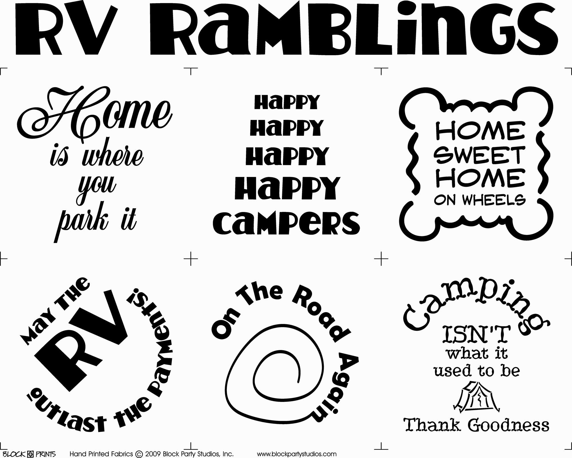 RV Ramblings Quilt Fabric Panel