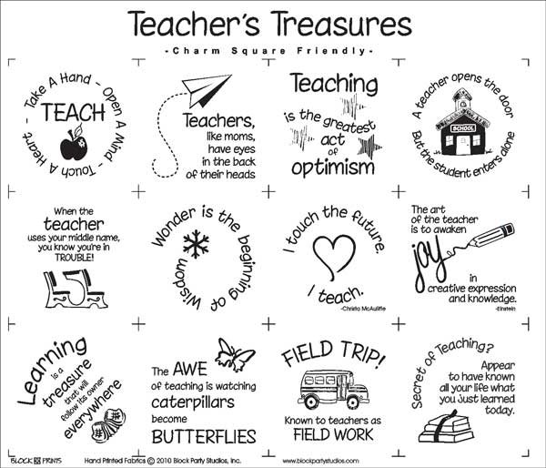 Teacher's Treasures Quilt Fabric Panel