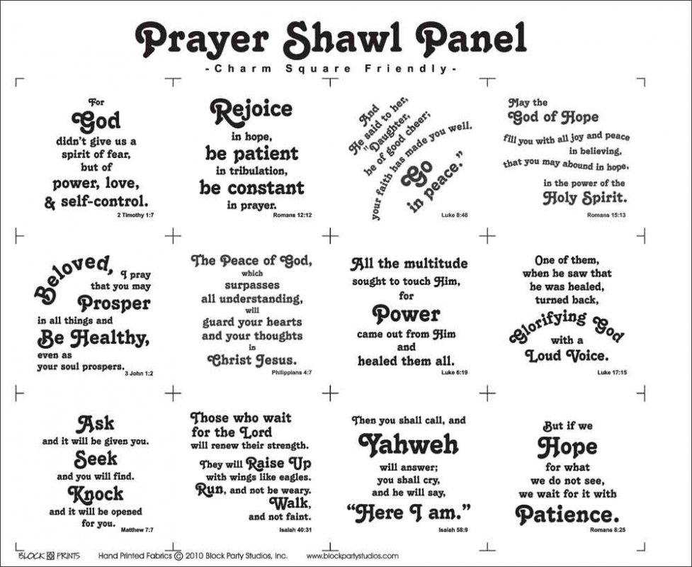 Prayer Shawl Quilt Fabric Panel