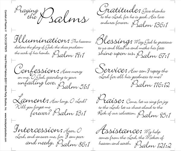 Comfort of Psalms V Quilt Fabric Panel: Praying the Psalms
