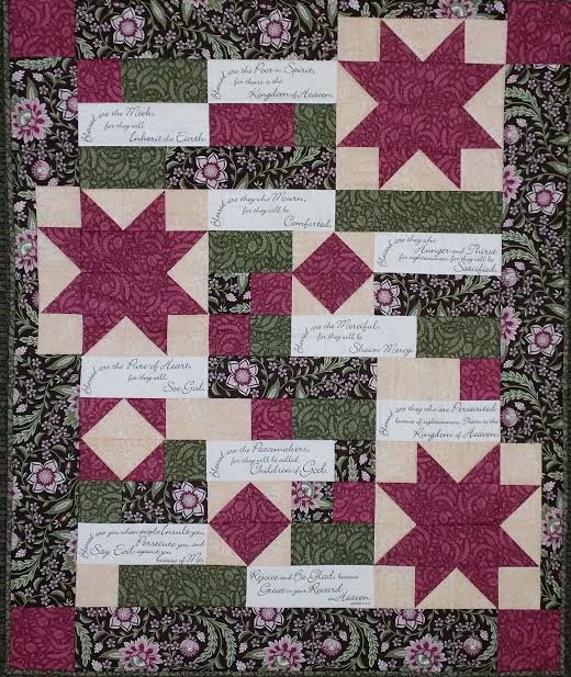 Comfort of Psalms Quilt Fabric Kit with Beautitudes Panel