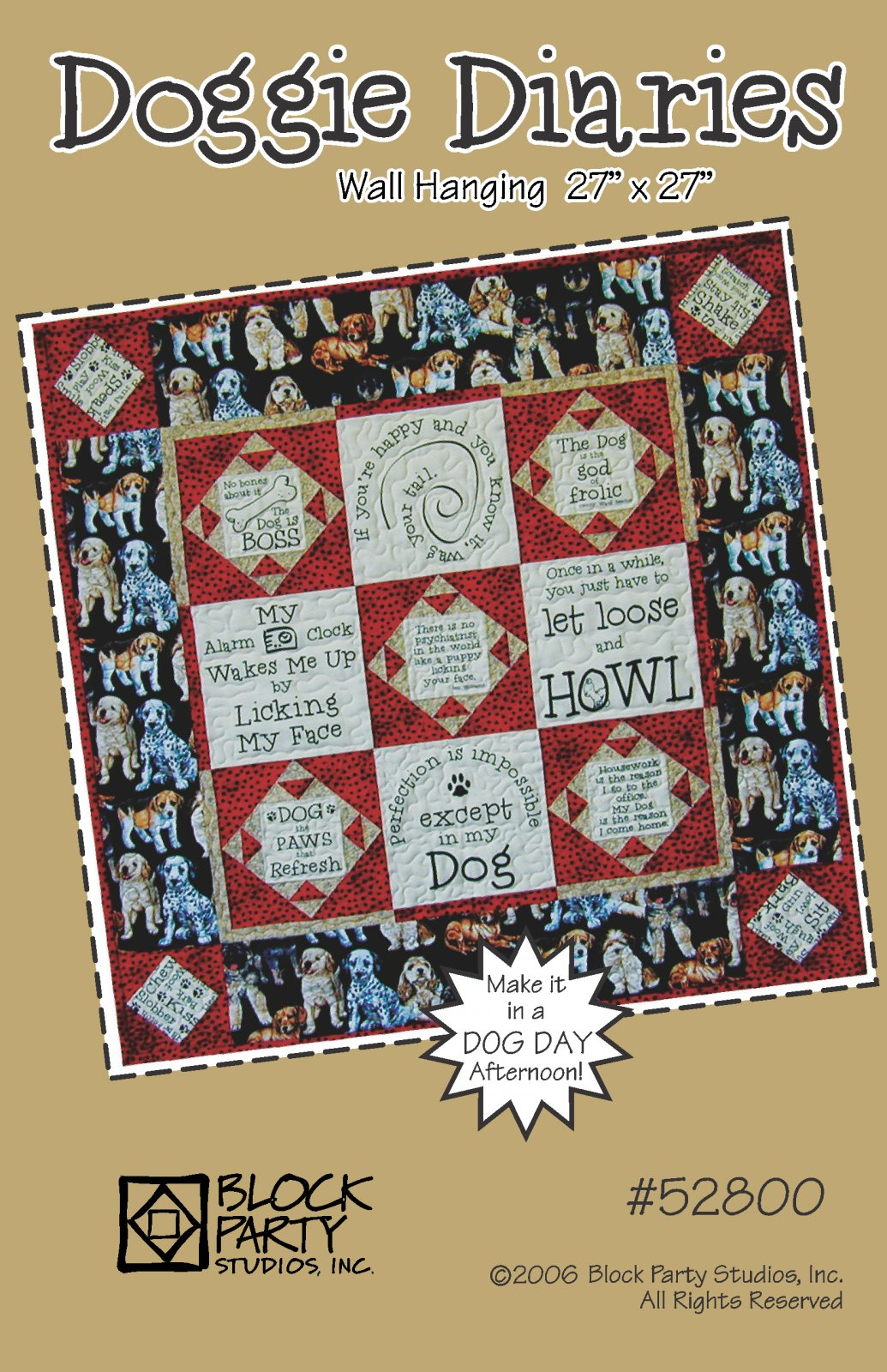 Doggie Diaries Quilt Pattern Only