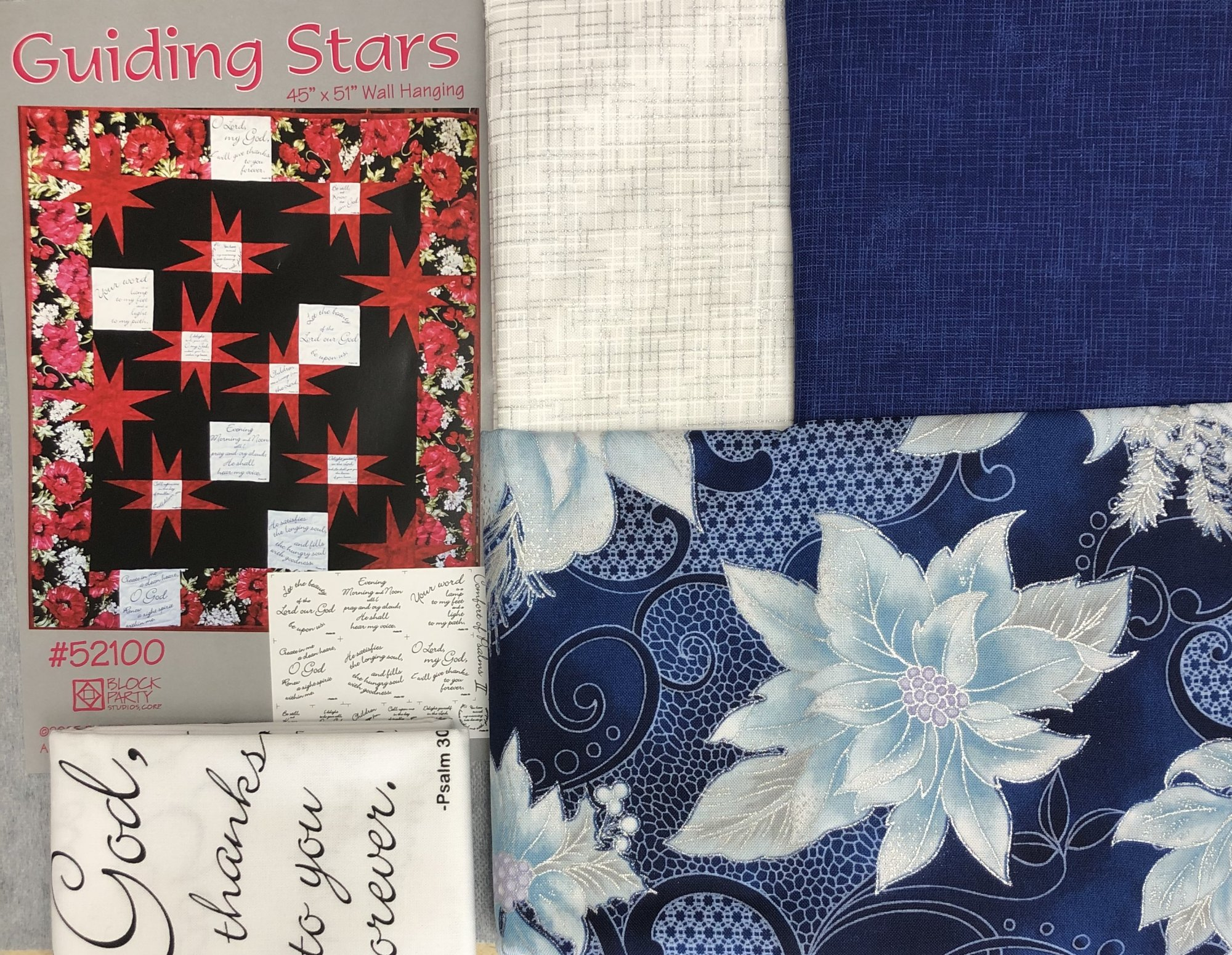 Guiding Stars Quilt Kit - Blue & White