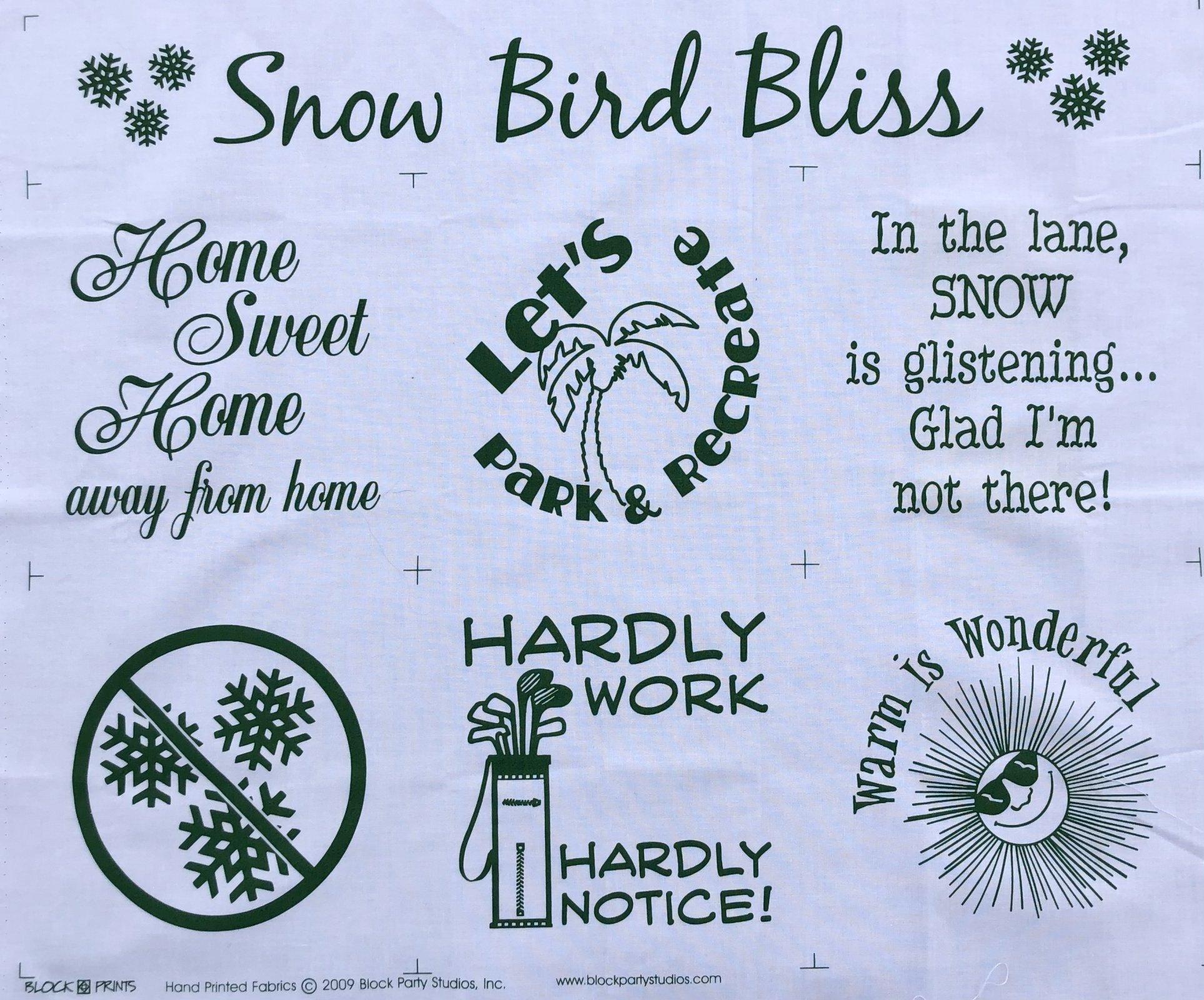 Snow Bird Bliss Fabric Panel