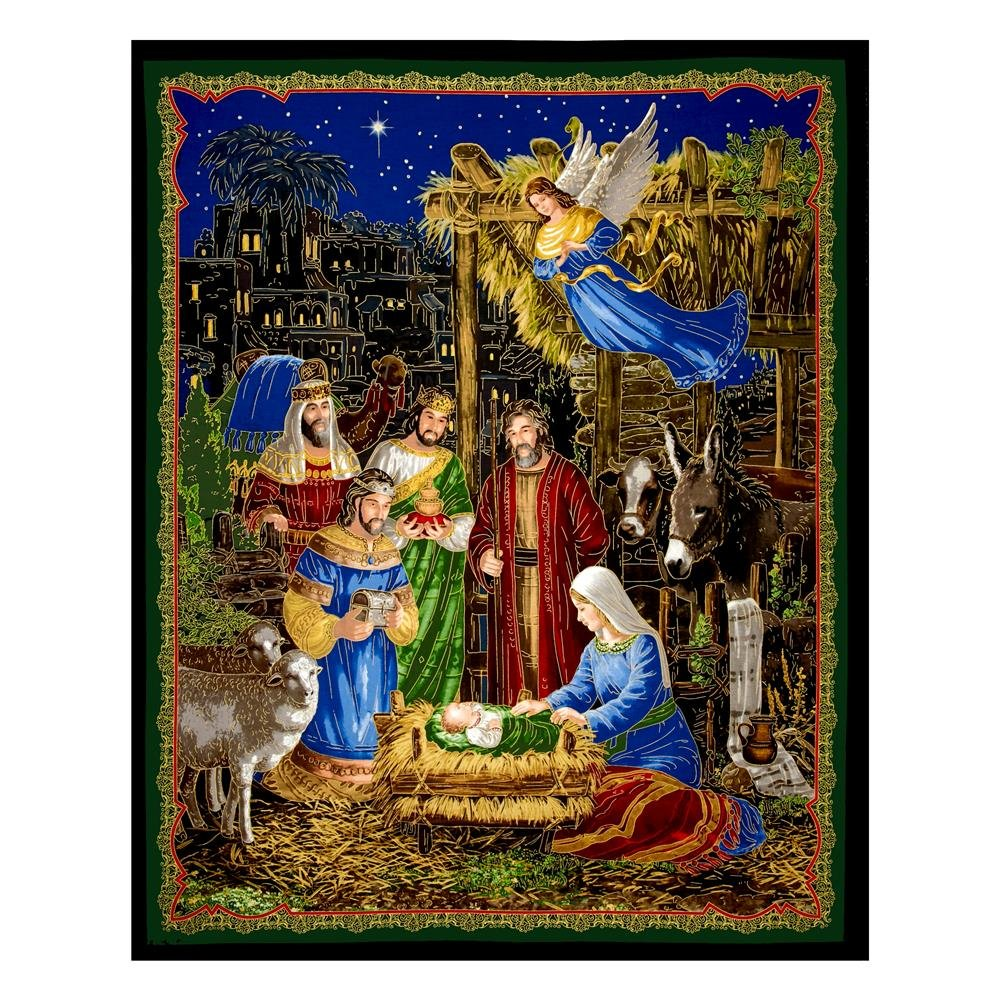 Bethlehem Metallic Nativity Panel