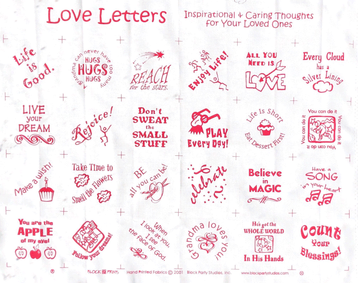 Love Letters Quilt Fabric Panel