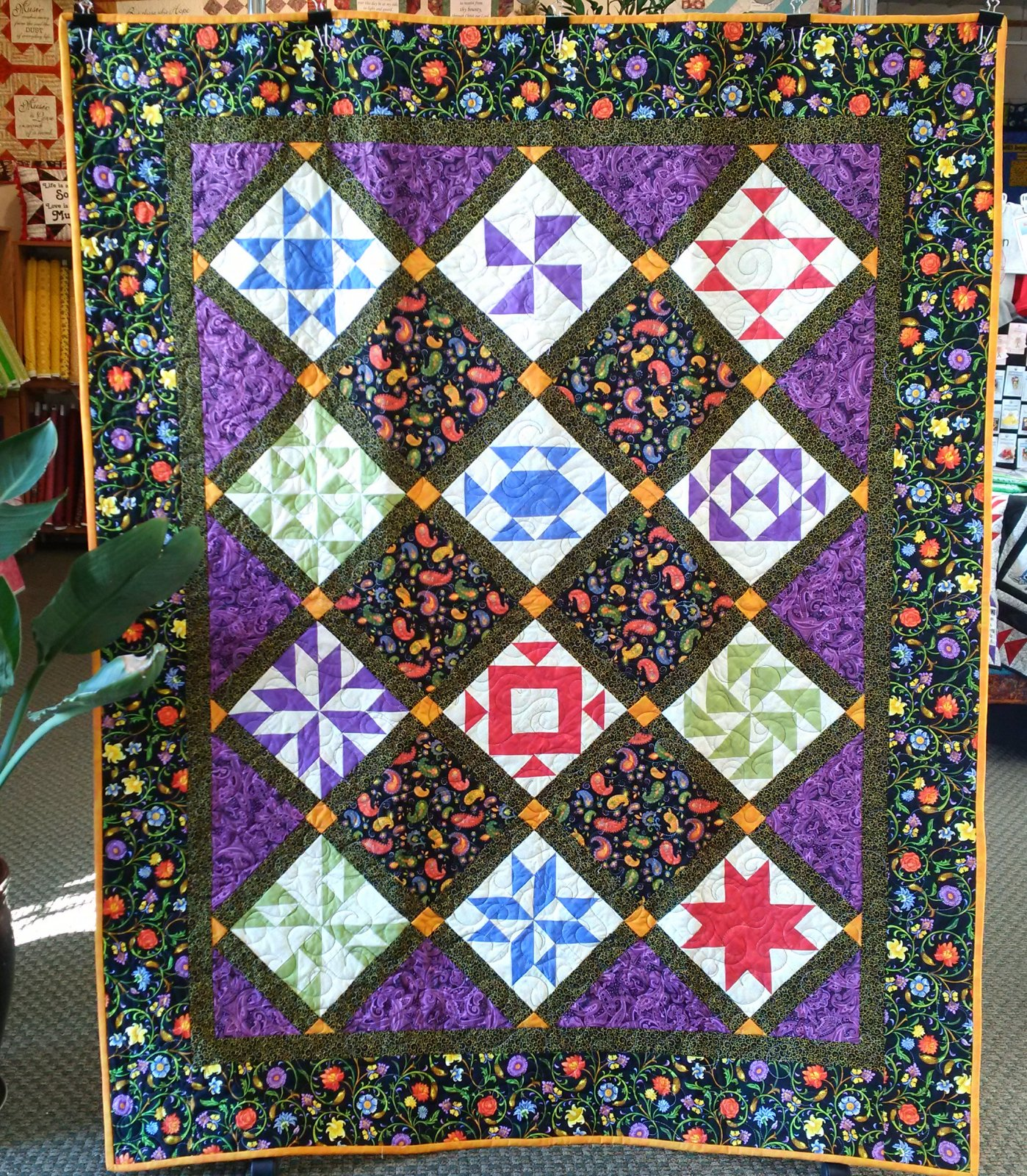 Black and Jewel Toned Sampler Finished Quilt