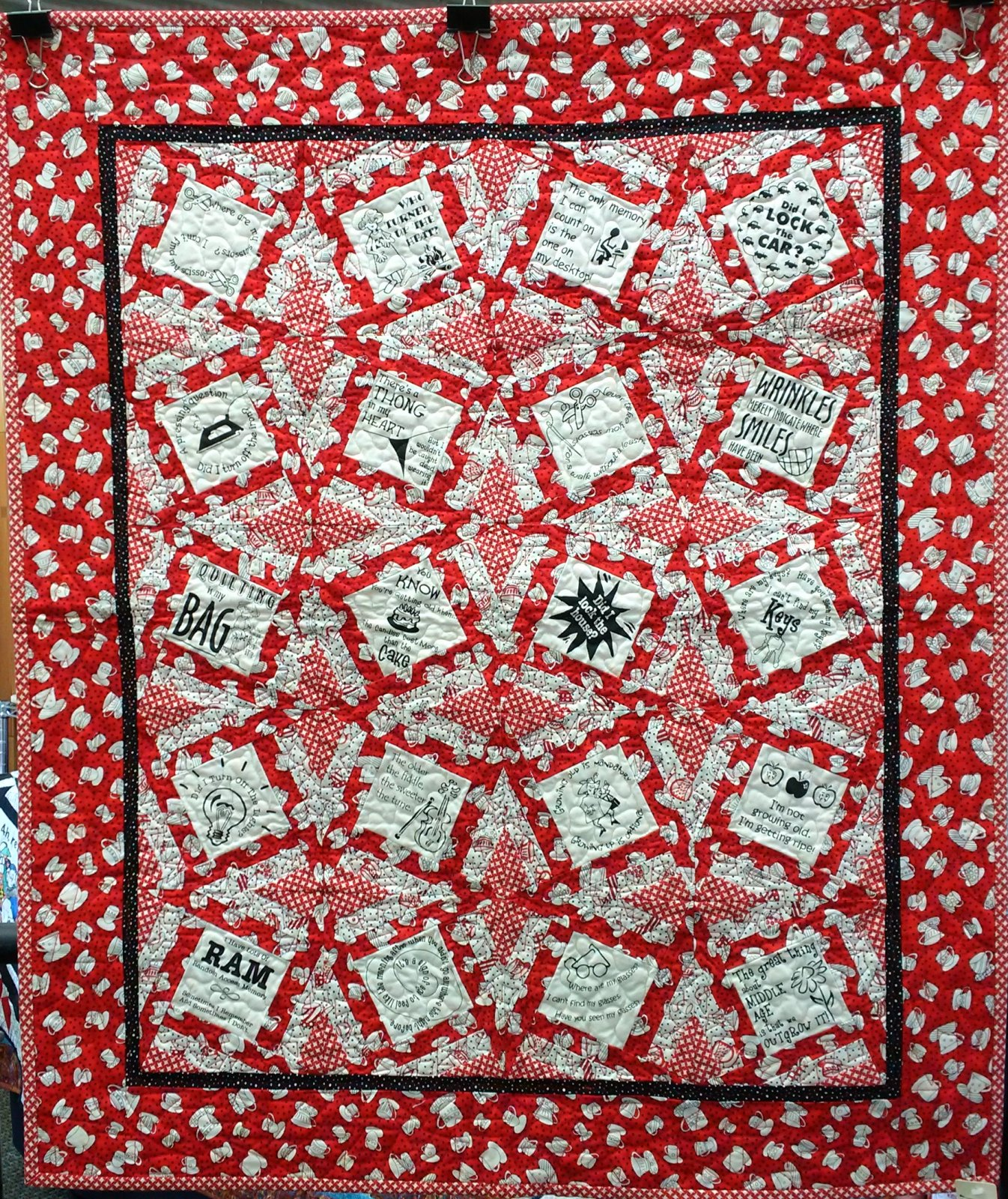 Red Fuzzy Thinking Quilt