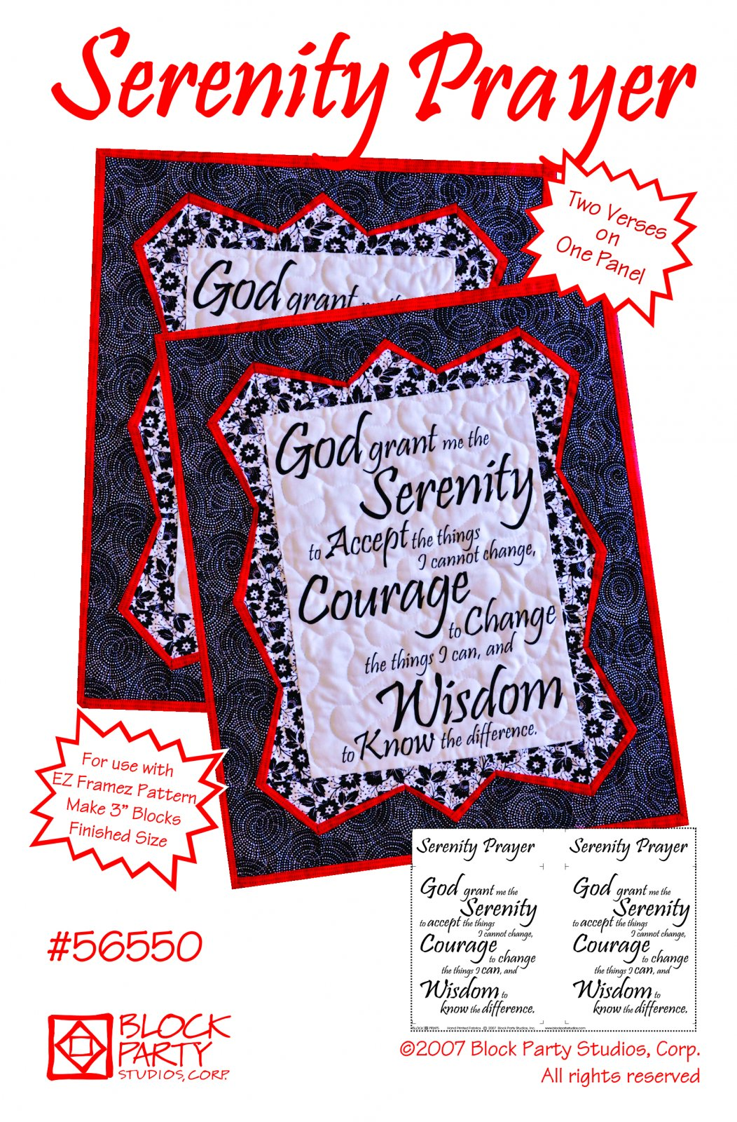 Serenity Prayer Pattern/Panel