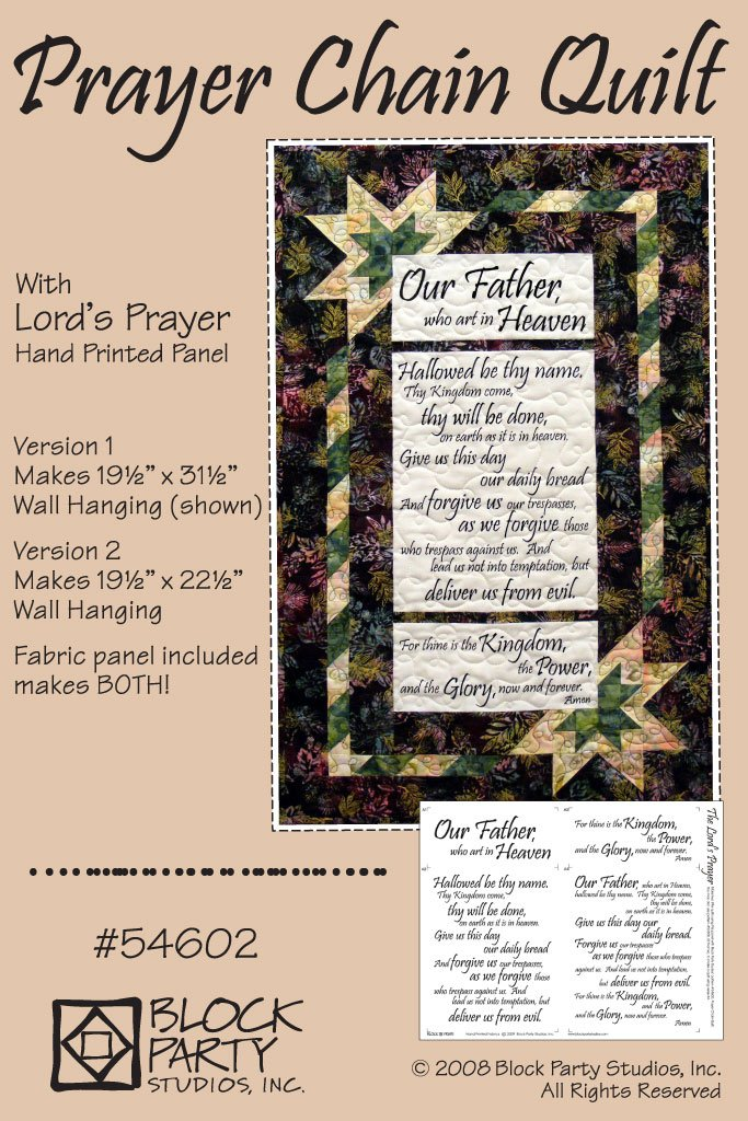 Prayer Chain Quilt Pattern with the Lord's Prayer Panel