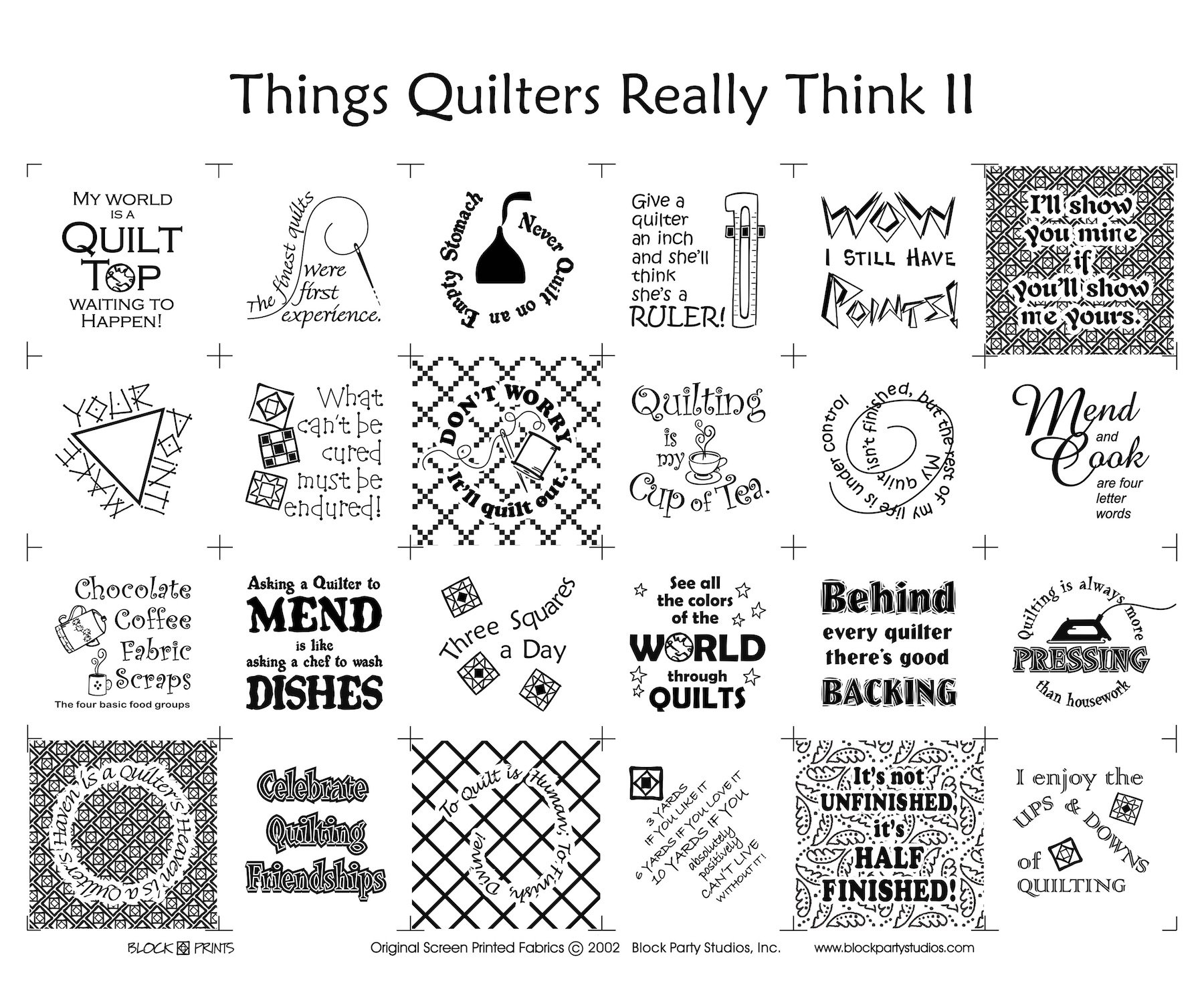 Things Quilters Really Think II Quilt Fabric Panel