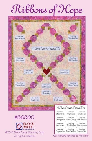 Ribbons of Hope Quilt Pattern and What Cancer Cannot Do Fabric Panel