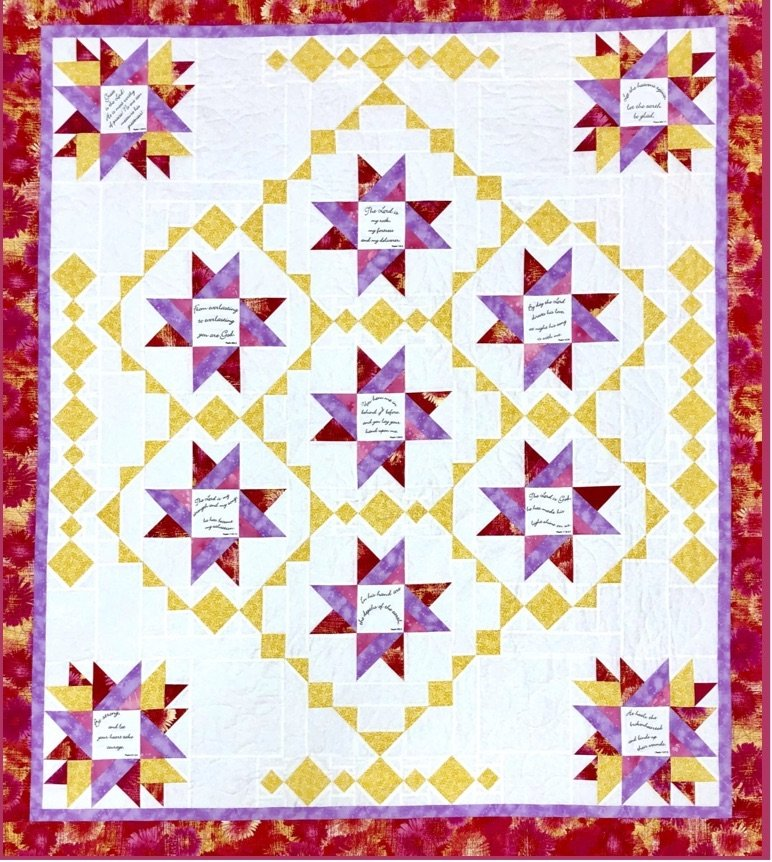Wishing Stars Pattern with Comfort of Psalms VI Fabric Panel