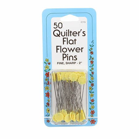 50 QUILTERS FLAT FLOWER PINS