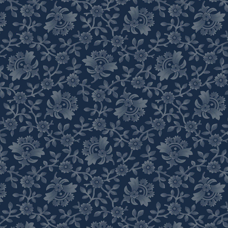 Bess' Flower Garden - Blue Stencil Floral
