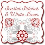 Scarlet Stitches and White Linen by Color Principle at WashTub Quilts