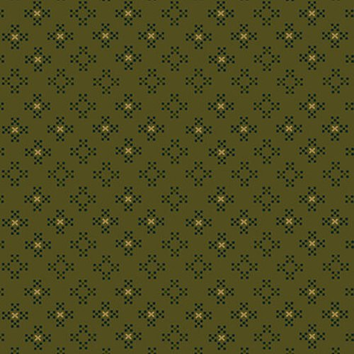 Esther's Heirloom Shirtings - Green Nine Patch Clusters