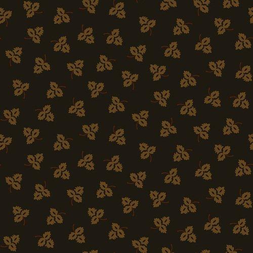 Esther's Heirloom Shirtings - Black Tossed Leaves