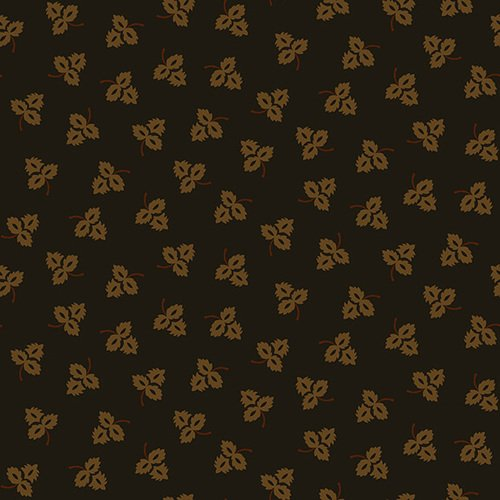 Esther's Heirloom Shirtings - Black Tossed Leaves  (1/4 yard)