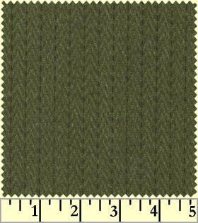 Woolies Flannel - Green Stitched Herringbone