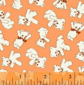 Storybook Playtime - Peach Teddy Bears (2 1/2 yards)