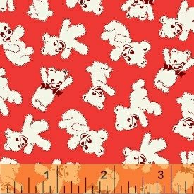 Storybook Playtime - Red Teddy Bears (1 2/3 yards)