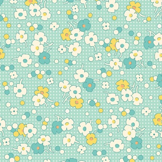 Nana Mae II  - Teal Floral with Dots
