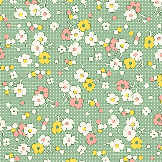 Nana Mae II  - Green Floral with Dots