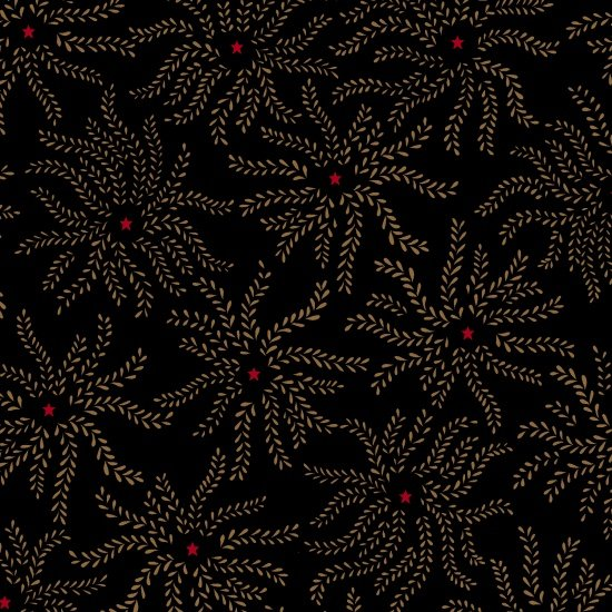 Ebony & Onyx - Floral Starburst (1 3/8 yard)