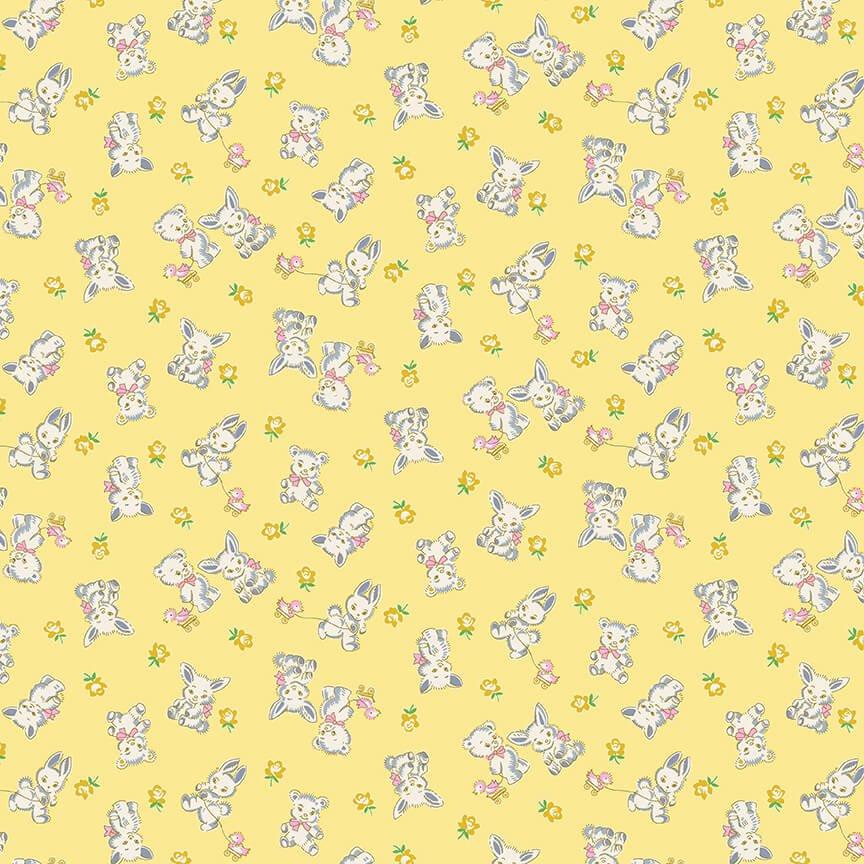Nana Mae IV - Yellow Tossed Bunnies and Bears
