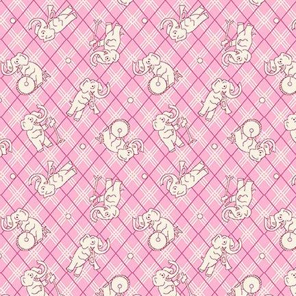 Nana Mae IV - Tossed Elephants on Pink Plaid